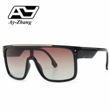 Ay-zhang moda hombres mujeres gafas de sol Vintage gafas de sol modernas UV400 montura grande una lente tonos