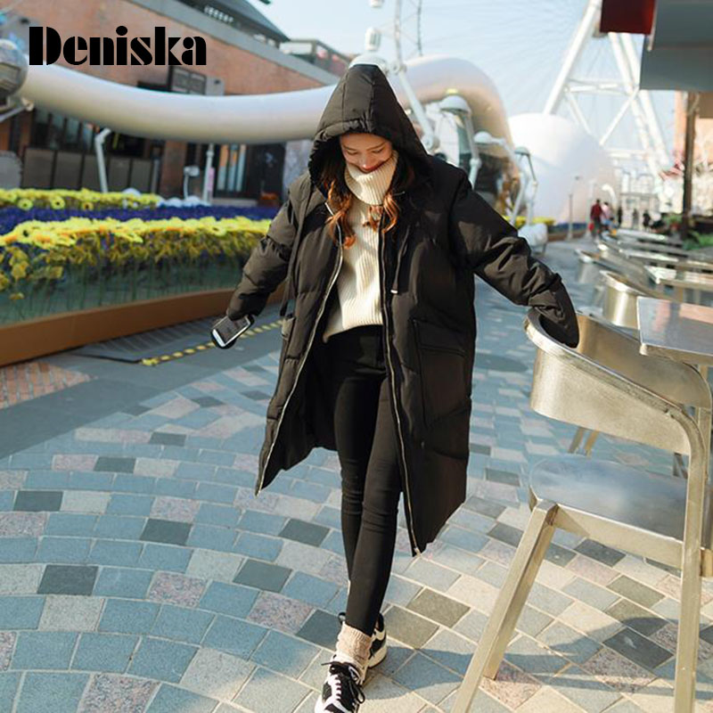 DENISKA Winter Jackets Women 2017 Sweet Down Cotton Parkas Casual Hooded Long Coat Thickening Zipper Loose Warm Long Parka 2017 ukraine exclusive custom winter coat magic cloth dolls and original sweet bunny ears hooded casual loose lovely cotton