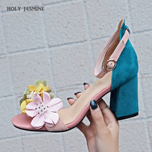 Women Flowers Sandals 2019 New Summer Gladiator Genuine Leather Shoes Woman Ankle Strap High Heels Mixed Colors  Wedding Shoes цена 2017