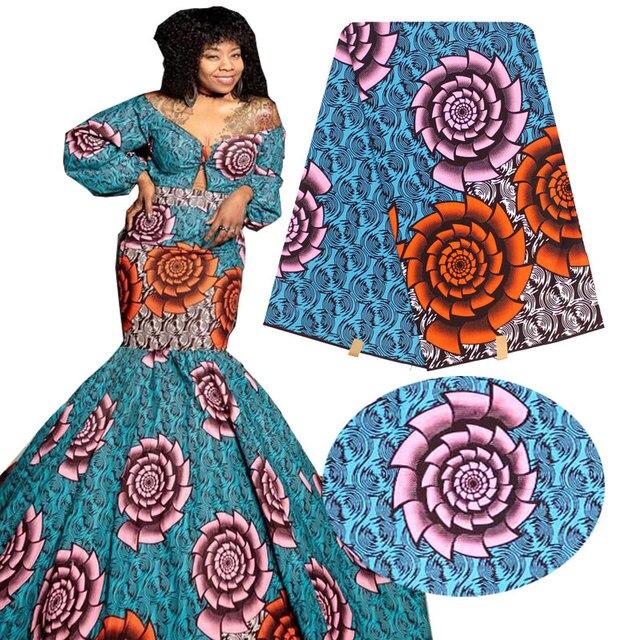Tissu imprimé africain Ankara, tissu imprimé à la cire africaine bon marché pour robes, tissu africain vraie cire et Patchwork H16121521