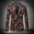2016 Mens trajes chaquetas Blazers fantasía impresión Veste Homme flores de terciopelo Mens florales Blazers chaqueta Homme Casual Desinger