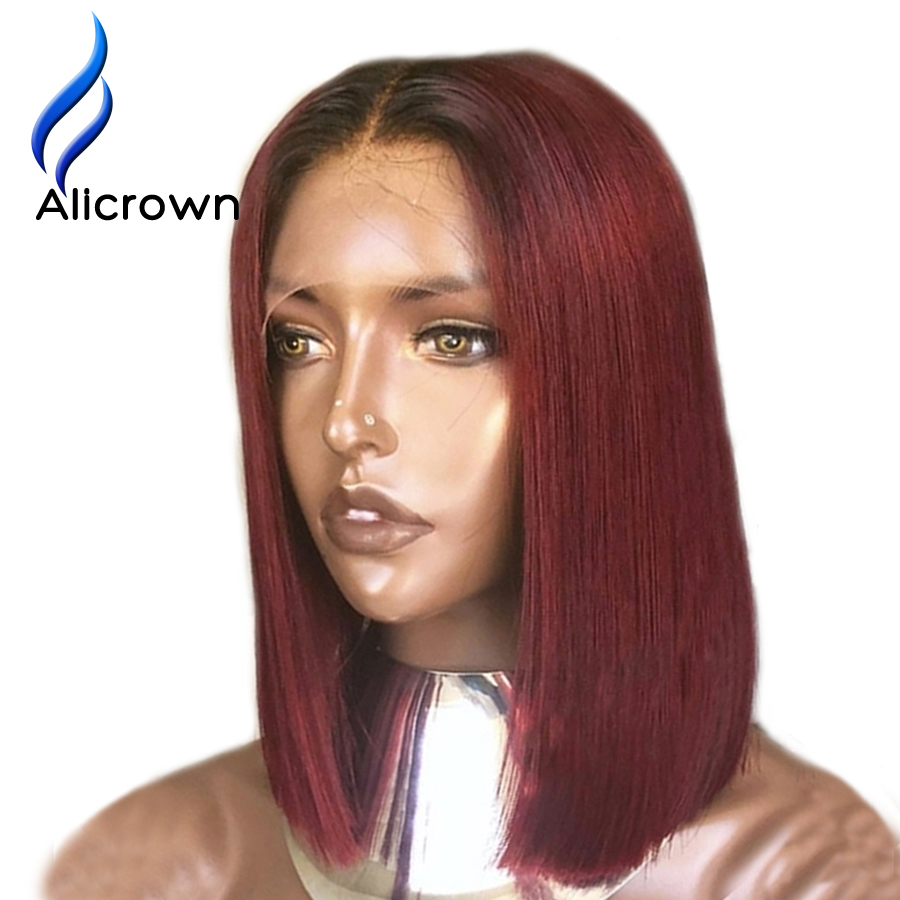 Alicrown T1B Burgundy Ombre Hair Bob Wigs Lace Front Human Hair Wigs Straight Short Brazilian Remy