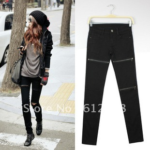 b3b7add90f8798 New fashion women Black Zipper Ripped Hole skinny capri Jeans Jeggings  leggings pants trousters