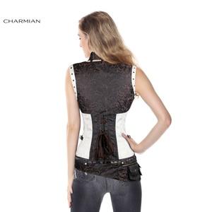 Image 5 - Charmian المرأة حجم كبير Steampunk مشد الأبيض الصلب الجوفاء النهضة خمر مشدات القوطية و المشدات مربوط أعلى