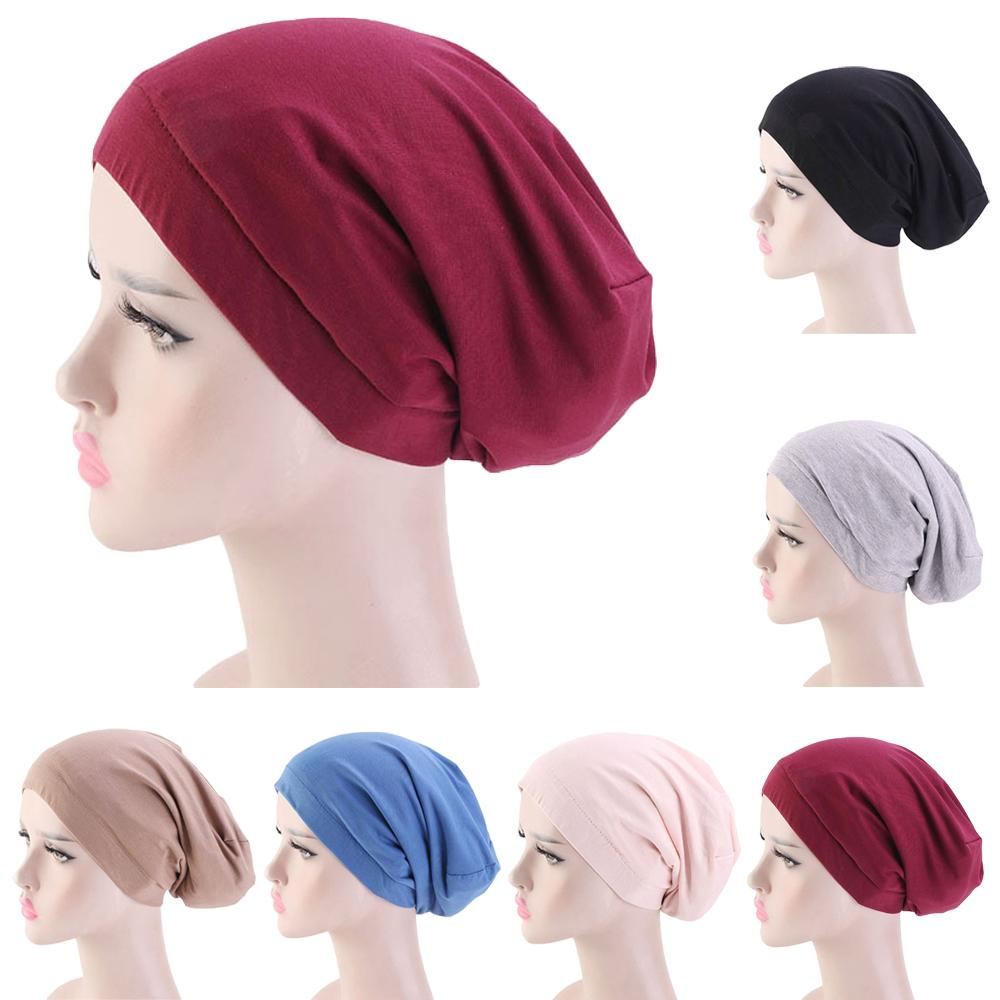 Women Turban Headscar Ski Slouch Hat Cap Baggy Beanies Bonnet Chemo Cancer Elastic Band Satin Lining Skullies Muslim Cap Arab
