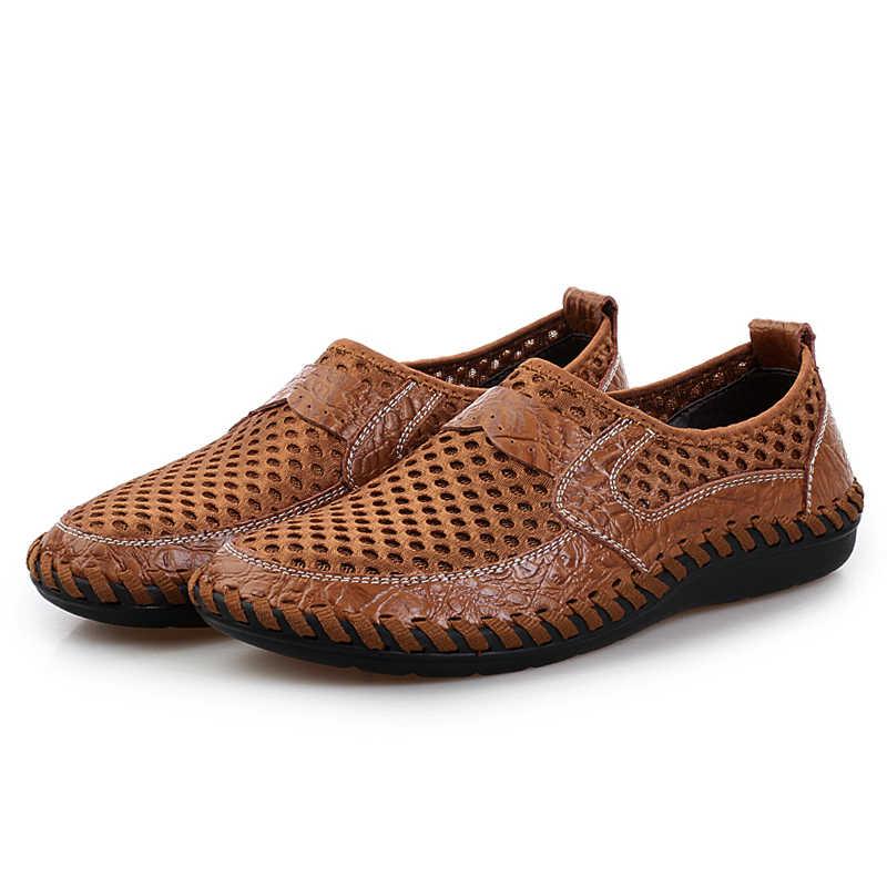 2019 Yaz Rahat Erkek Ayakkabı Örgü Nefes Ayakkabı Erkekler Açık Rahat Yumuşak Açık Ayakkabı Zapatillas Hombre Büyük Boy
