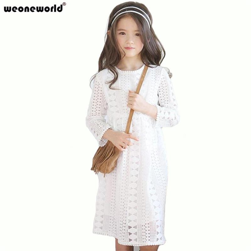 WEONEWORLD Winter Girls White Lace Dress Long Sleeve Knee ...
