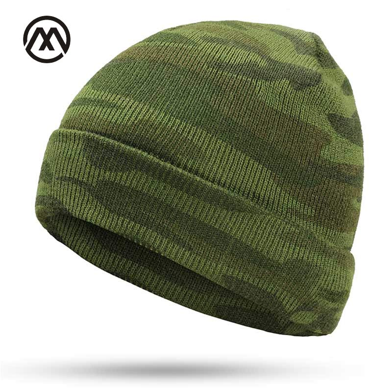 New Winter Men's Knit Hats Brand Winter Warm Gorros Touca Camouflage Outdoor Camping Army Warrior Male Skull Turban Cap Cotton