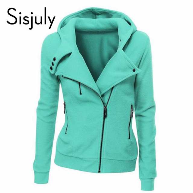 Sisjuly зеленый куртка с длинным рукавом мода весна толстовки осень молния пальто женщин
