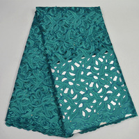 Free shipping (5yards/pc) high quality hand cut African voile lace fabric teal green Swiss lace fabric for party dress CLP82