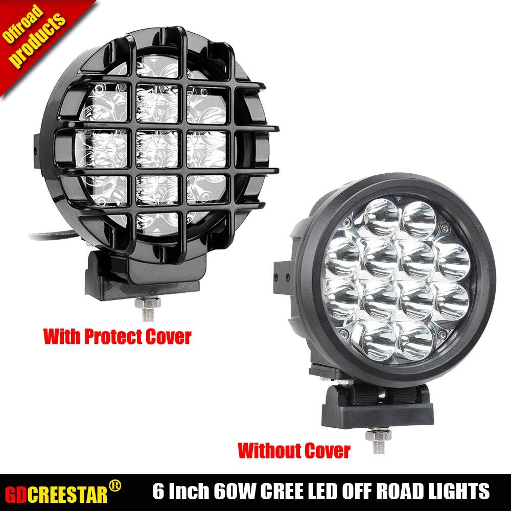 GDCREESTAR 6 inch LED Work Light Round 60W led spot lights 12V 24V Off Road 4WD ATV UTV Motorbike Boat 6 LED Driving Light x1pc