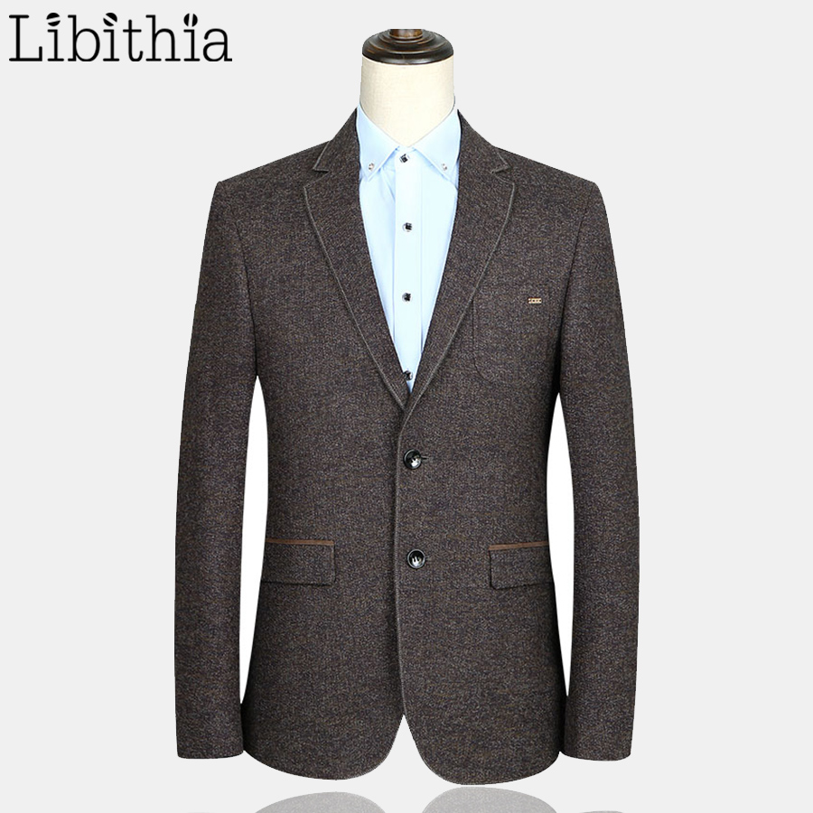 Men Two Buttons Luxury Suit Blazers Casual Jackets Wedding Party Slim Fit Clothes Solid Color Dark Brown Daily Menswear F106