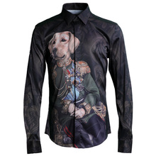 New High-grade Lucky Dog Printing Washable Mens Shirts Thin Slim Fit Single Breasted Orignial Design Microelastic Trendy