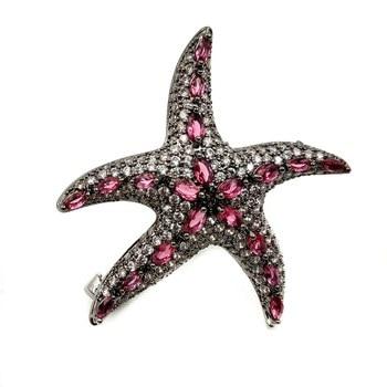 Chic Vintage Micro Pave CZ baile negro estrella de mar broche Marquesa corte Rosa piedra Deco declaración mar broche con estrella mujer playa joyería