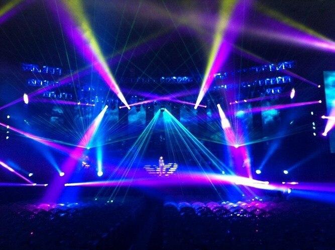 Flightcase + Big power Multi kleur RGB Laser Projector 15 W Podium lichten 40 k X/Y flips power knoppen stage light disco event ILDA - 3