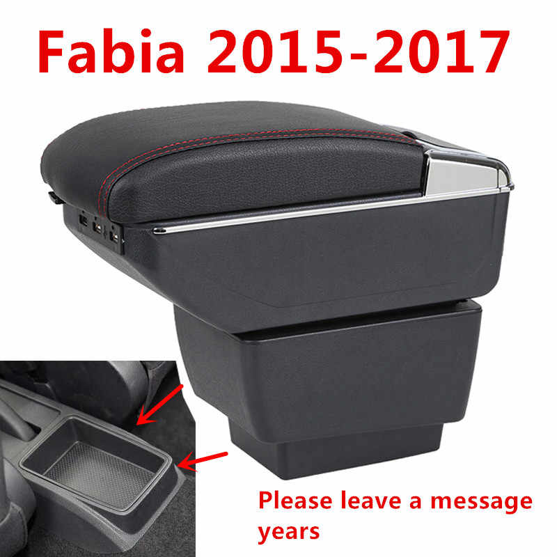 For Skoda Fabia 2015-2017 Armrest Box Car Center Storage Box With Cup Holder Arm Rest Rotatable Car-styling Interior Accessories