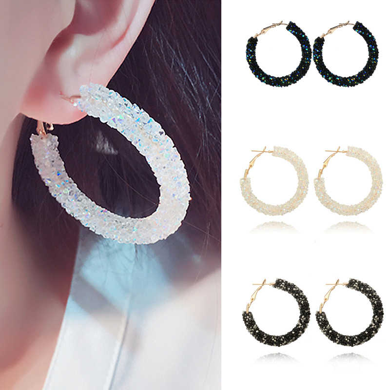 2019 New Fashion Bling Bling Hoop Earrings For Women Shiny Crystal Hollow Round Circle Ear Jewelry Gift For Wedding Brincos