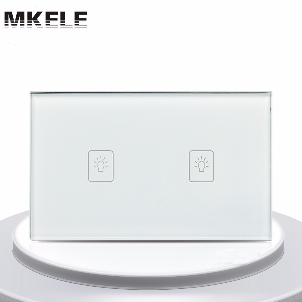 US Standard Touch Switch 2 Gang 1 Way White Crystal Glass panel,Light Switch ,Touch Screen wall switch,wall socket for lamp free shipping us au standard touch switch 2 gang 1 way control crystal glass panel wall light switch kt002us