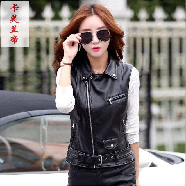 e1c686a1c0f Women s Leather Vest Motorcycle PU Leather Female Vest Fashion Sleeveless  Jacket Plus Size Turn Collar Pockets Waistcoat Ladies