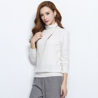 2017 Autumn New Pure Cashmere Sweater High Quality Women Pullover Piled High Collar Shirt Slim Knit