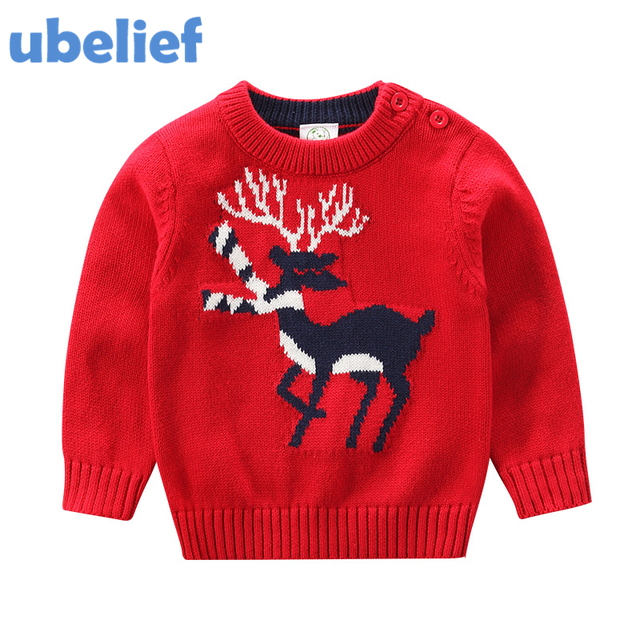 ubelief christmas sweater toddlers boys embroider sika deer knitwear sweater toddler cardigan kids christmas clothing warm