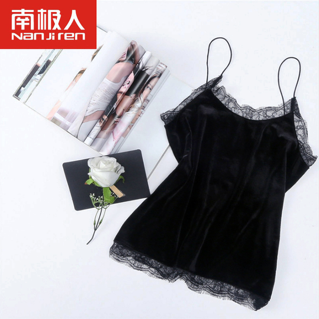 ed9b42c3b1aaf 2018 New Sexy Lace Camisoles Women Tank Top Sling Plus Size Black Velvet  Camisoles Ladies Tanks s-xxl Bottoming Vest Crop Tops