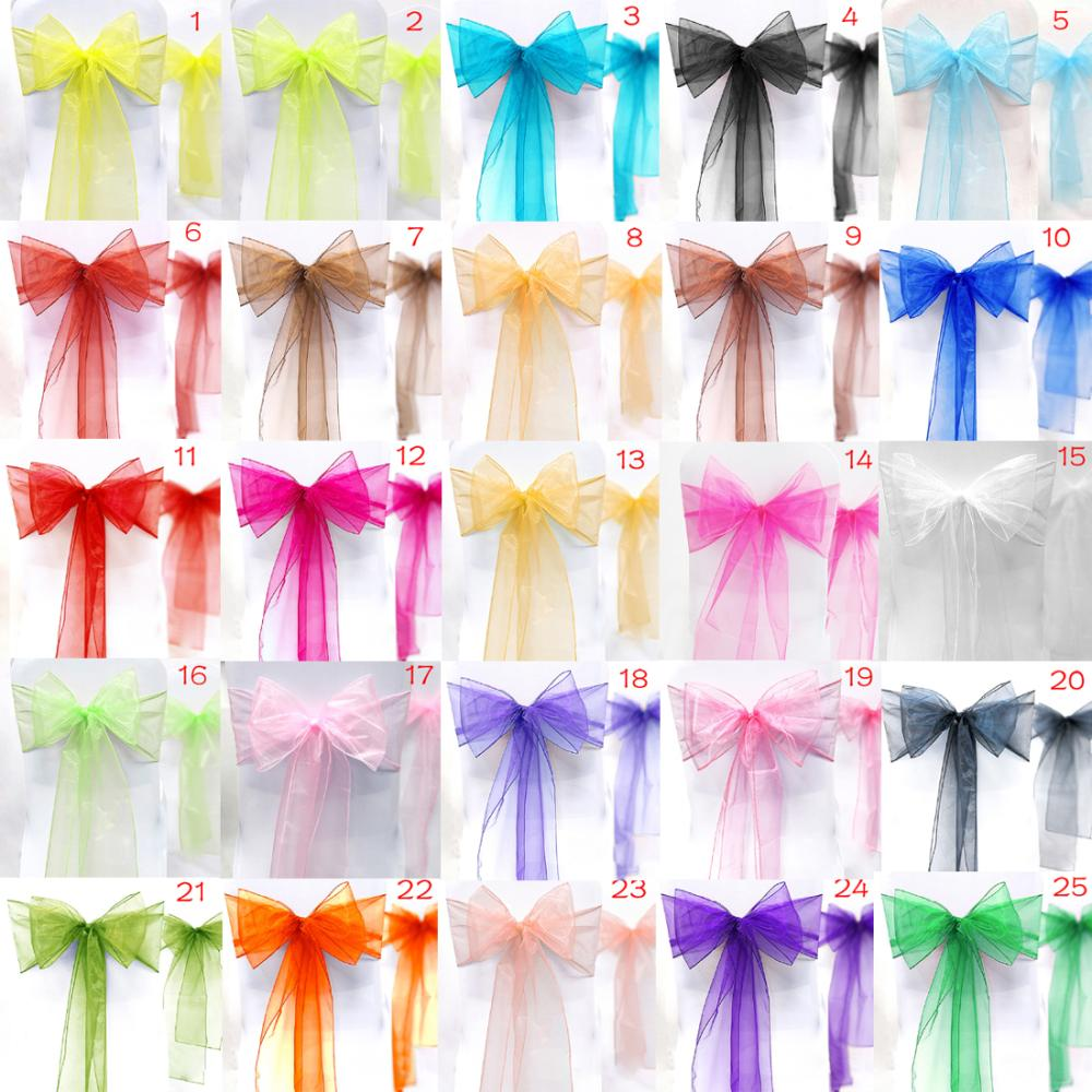 Chair Covers And Sashes For Sale Big Joe Kids 25pcs Lot New Organza Bow Wedding Events Supplies Party Decoration