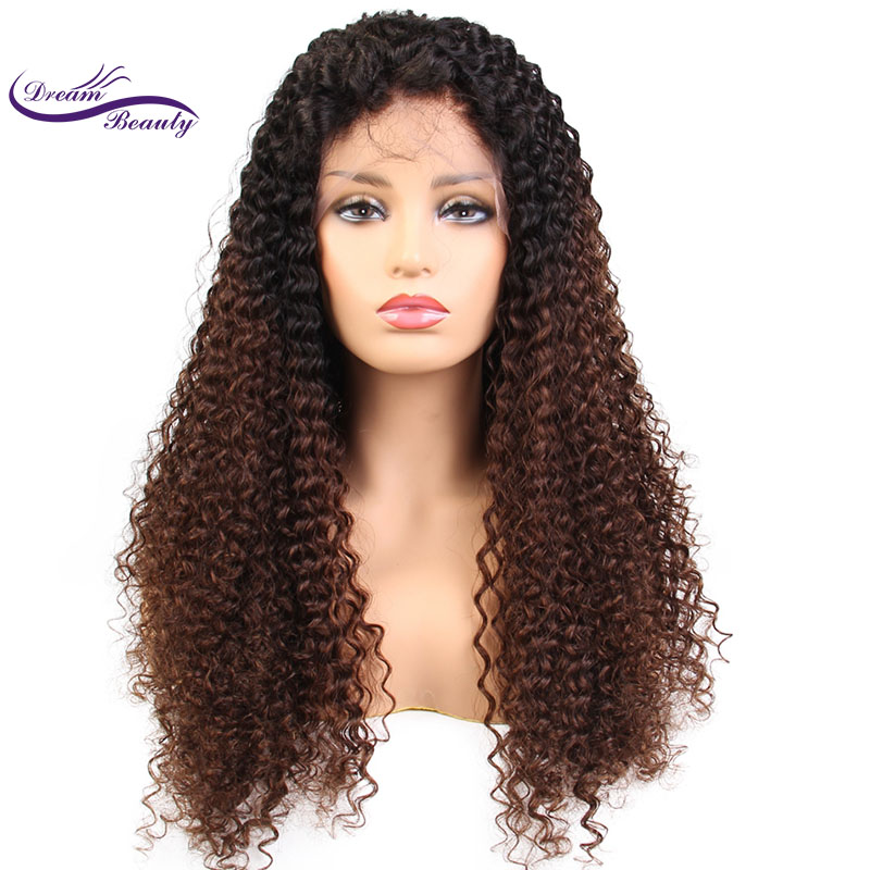 Dream Beauty Lace Front ombre color Hair Wigs Pre Plucked remy Brazilian Curly Human Hair Frontal Wig Bleached Knots