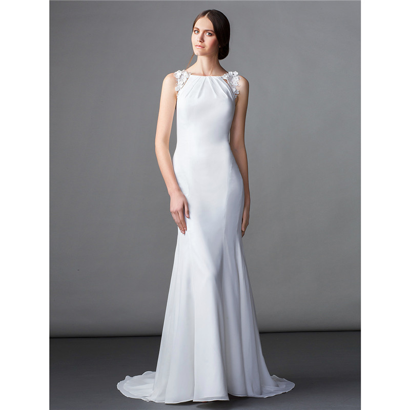 LAN TING BRIDE Mermaid Trumpet Bateau Neck Sweep / Brush Train Chiffon Wedding Dress with Flower