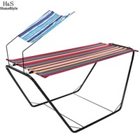 Homdox Outdoor Single Lounger Bed Patio Metal Stand Hammock With Awning N20A