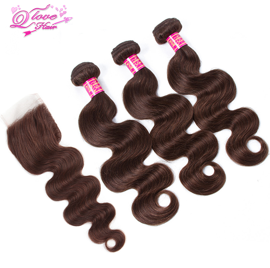 Queen Love Hair Pre-colored Peruvian Body Wave With Lace Closure 3 Bundles Body Wave Non ...