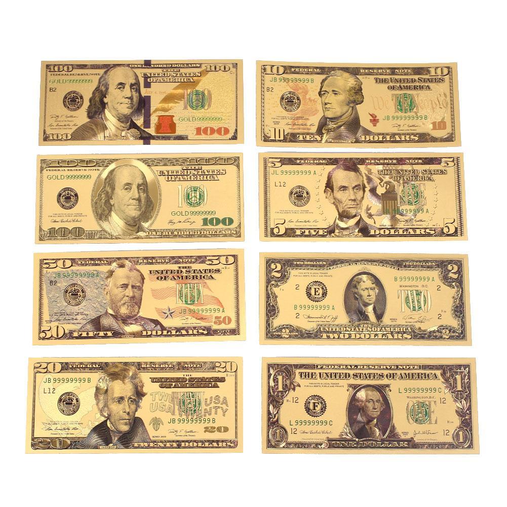 8 pcs 24 K זהב מצופה דולרים הנצחה הערות מזויף כסף זהב עתיק אוסף 1 2 5 10 20 50 100 דולר