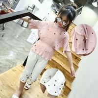 Little Girls Summer Clothing Sets 2018 Girls Chiffon Beading Blouse Top Capri Pants 2 Pcs Suit