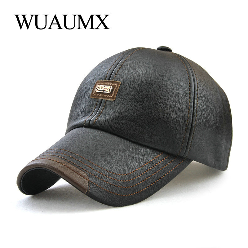 Wuaumx Brand Fall Winter PU Leather Baseball Caps For Men Dad Hat Black Bone Snapback Hip Hop Cap Adjustable Casquette gorras
