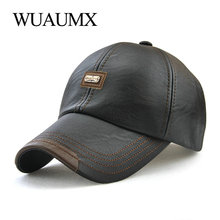 Wuaumx Brand Fall Winter PU Leather Baseball Caps For Men Dad Hat Black Bone Snapback Hip Hop Cap Adjustable Casquette gorras 2017 new winter leather pu baseball cap men snapback caps women outdoor sports brand bone winter hats for men gorras baseballcap