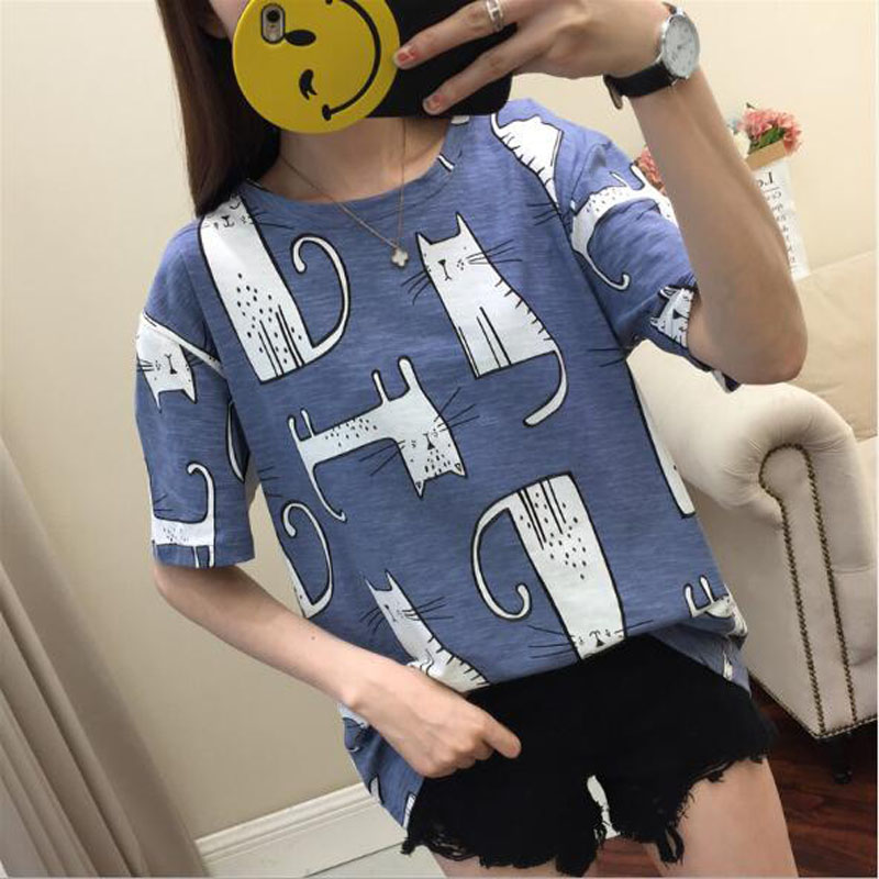 Kawaii Cat Print T- Shirt 3