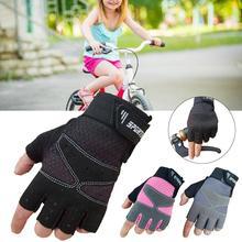 Детские перчатки для езды на полпальца, велосипедные защитные перчатки с амортизатором, впитывающие пот, дышащие перчатки, аксессуары