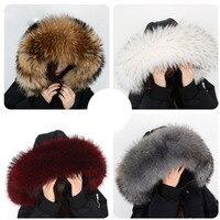 Winter Coat Female Neck Cap Long Warm Genuine Fur Scarf Big Size 100% Neck scarf Fur Collar Real Raccoon Fur Women Scarves L44
