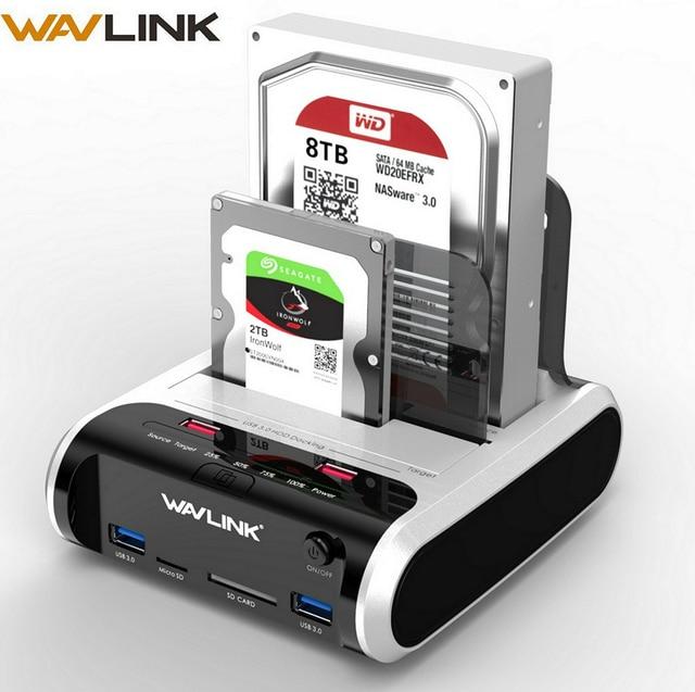 "Wavlink SATA HDD 2,5 ""3,5"" disco duro externo USB 3,0 Docking estación 5 Gbps Offline clon lector de tarjeta para disco duro de 10 TB"
