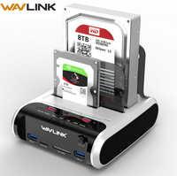 """Wavlink SATA HDD 2,5 """"3,5"""" disco duro externo USB 3,0 estación de acoplamiento 5Gbps lector de tarjetas clon sin conexión para disco duro de hasta 10TB"""