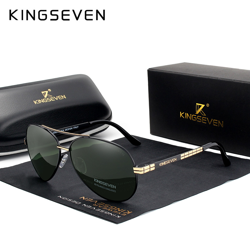 KINGSEVEN degli uomini di Disegno di Occhiali Da Pilota HD Occhiali Da Sole Polarizzati Per Gli Uomini/Donne di Guida Occhiali Da Sole Con Il Rilievo Logo Oculos de Sol
