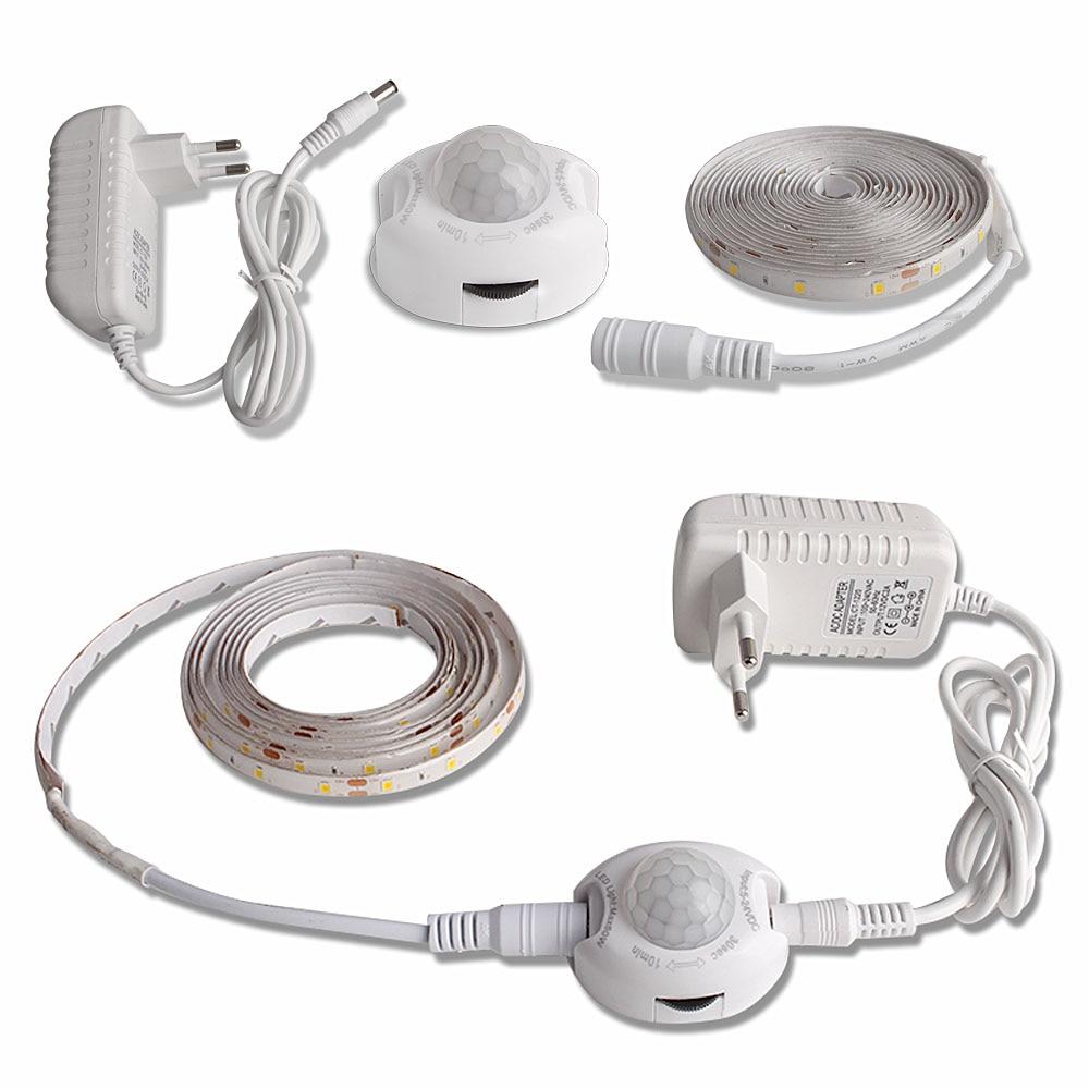 Светодиодный ночник с датчиком движения 1 м 2 м Светодиодная лента Водонепроницаемый PIR/датчик света Ночная лампа для шкафа коридора 12 В адаптер питания|Ночники|   | АлиЭкспресс