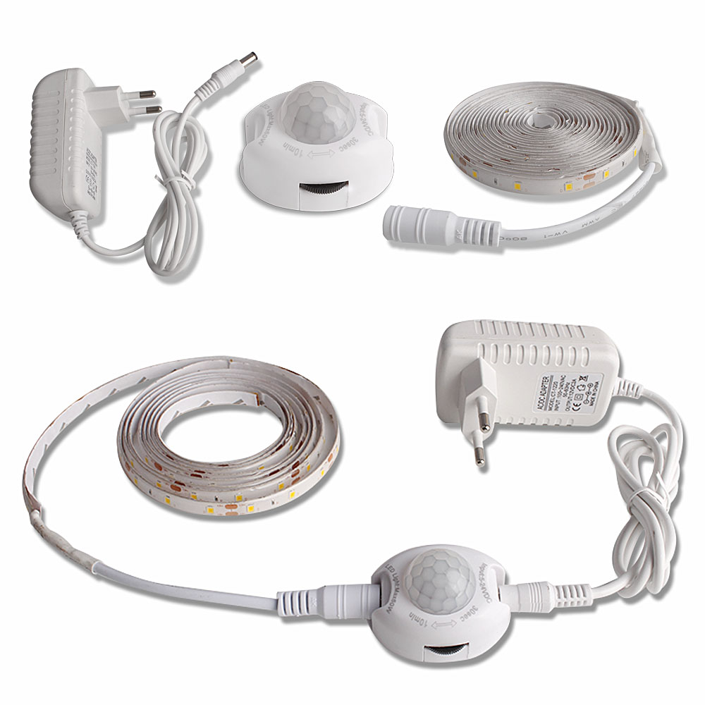 LED Night Light With Motion Sensor 1m 2m LED Strip Waterproof PIR/Light Sensor Night Lamp  For Closet Corridor 12V Power Adapter