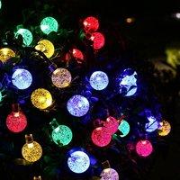 30 LED Solar String Fairy Lights 7 Modes Solar Outdoor Crystal Ball Solar Powered Globe For