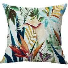 Botanic Tropical Plants Throw Pillow Cover Green Leaf of Tropical Palm Telopea Monstera Home Decorective Cushion Case