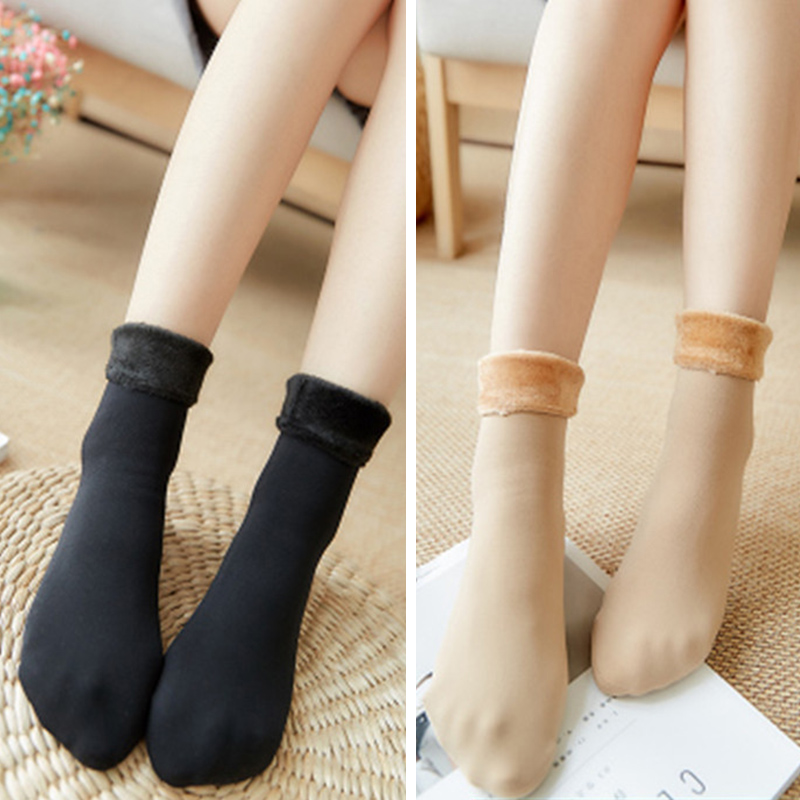 High Quality Warm Winter Cashmere Crew Socks Black Skin Color Thicken Faux Wool Men Women Socks Casual Middle Tube Socks