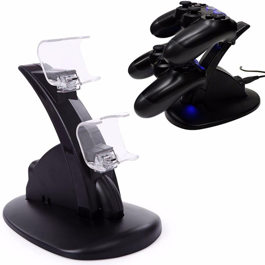 Neueste LED Micro Dual Controller Halter Ladegerät 2 LED Micro USB Schnellladung Dock Station Stand Ladegerät für PS4 Controller