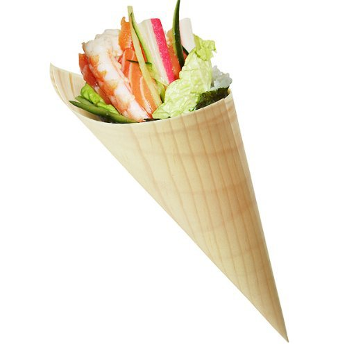 Free Shipping Party Wedding Suppliers Disposable Pine Wood Cone, Sushi,Salad/Dessert/French Fries, 5 Inch, 200 Count Box