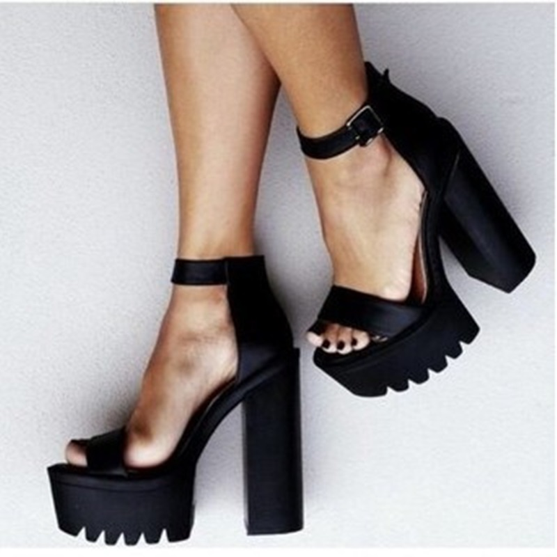 fc313282744 2018 vogue Ankle Strap Chunky Heel Buckle Strap Black Suede Sandals High  Platform Shoes Female Thick