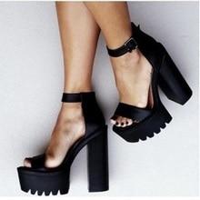 574749074 2018 vogue com Tira No Tornozelo Robusto Cinta Fivela Sandálias de Camurça  Preta de Salto Alto Sapatos de Plataforma Feminina da.